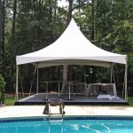 20 x 20 ft High Peak Tents and 20 x 20 ft. Stage with Black Skirting