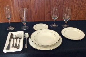 China, Silverware, and Glasses