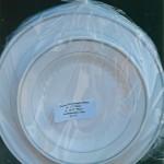 Premium Heavyweight Plastic Plates, White w/ Silver Band