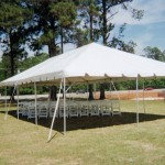 20 x 40 ft Wedding Frame Tent and White Wooden Chairs